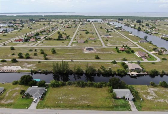 An aerial view of a parcel of land located at 3232 Old Burnt Store Rd N